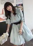 包邮韩版经典长袖雪纺下摆针织连衣裙