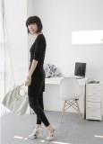 秀族09新款韩版淑女七分袖针织雪纺连衣裙